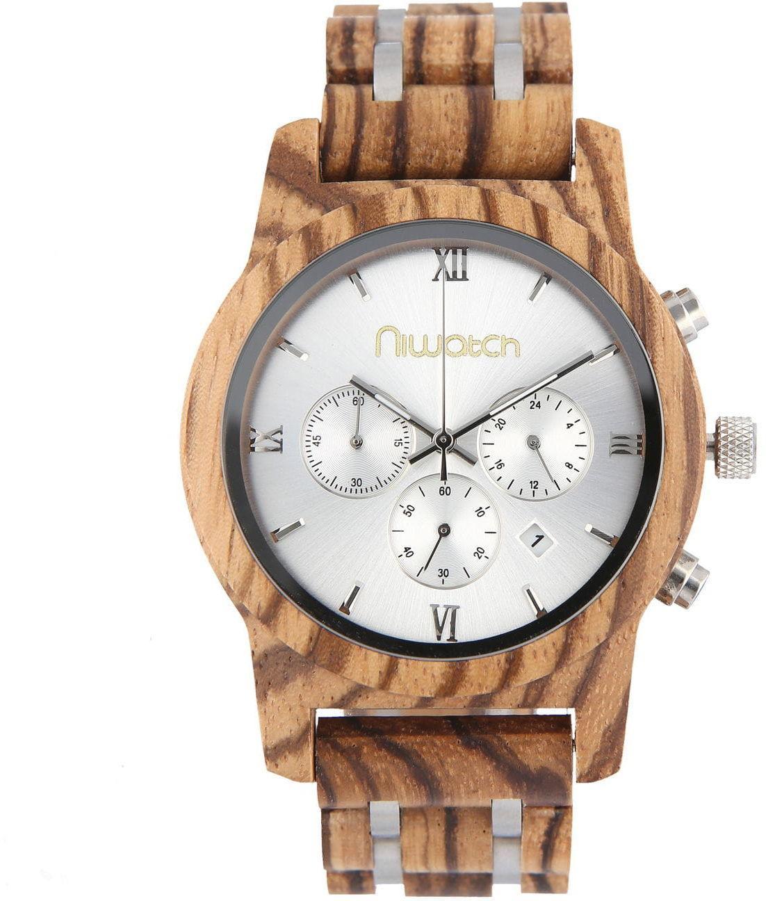 Męski zegarek drewniany Niwatch CHRONO - ZEBRAWOOD