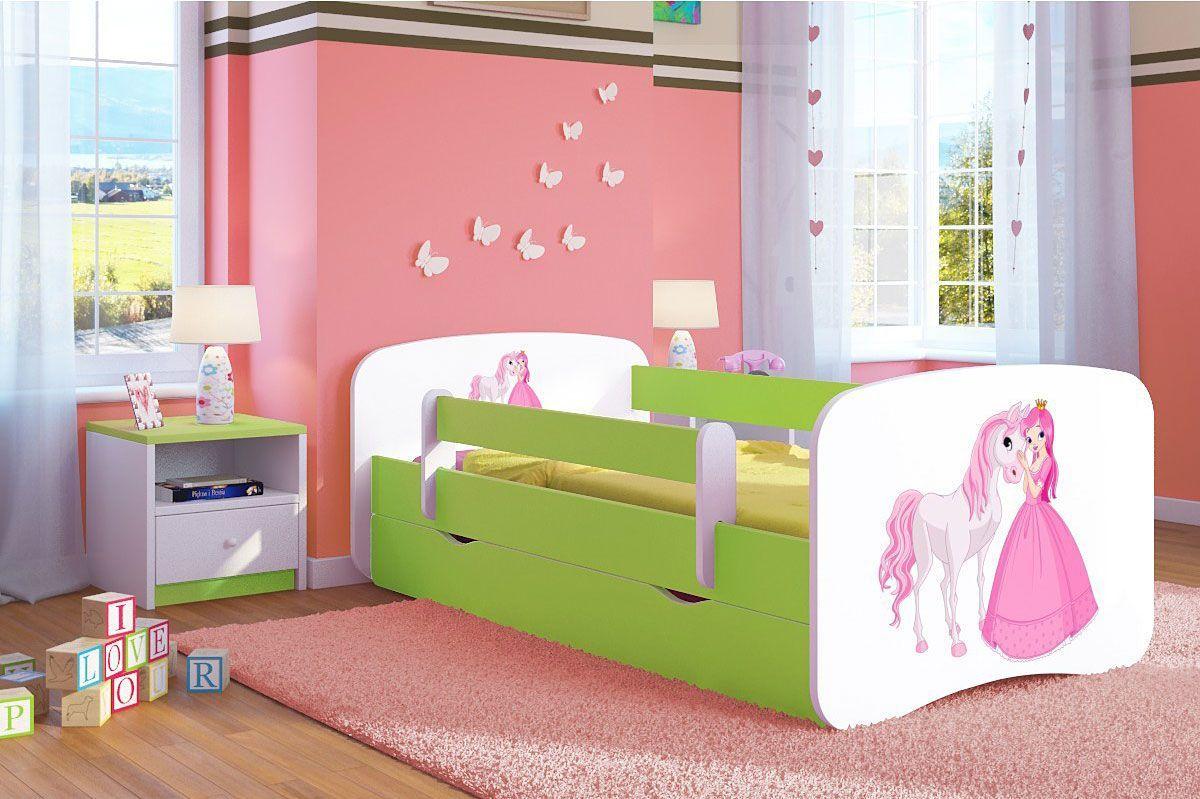Łóżko dziecięce ze stelażem Happy 2X mix 70x140 - zielone