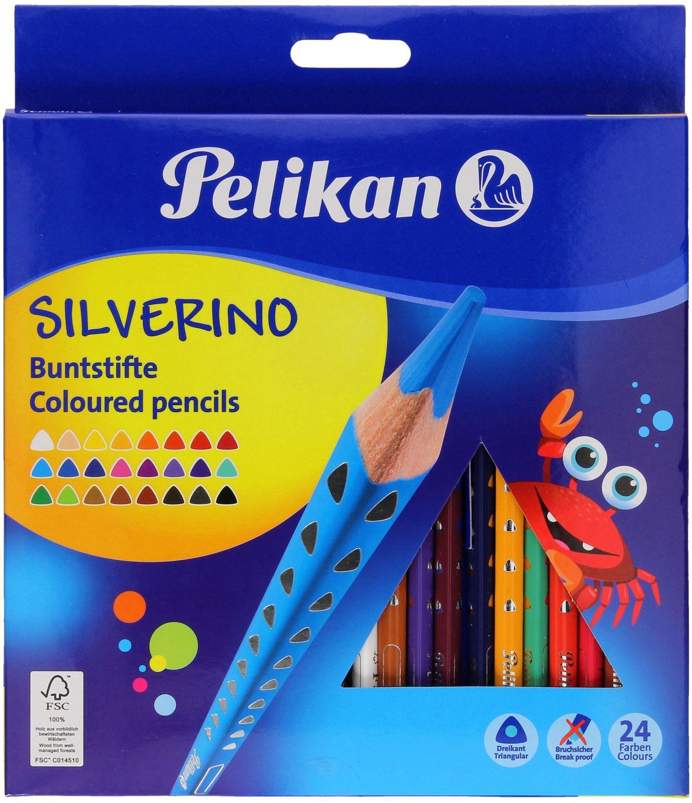 Kredki ołówkowe 24kol trójkątne Silverino Pelikan