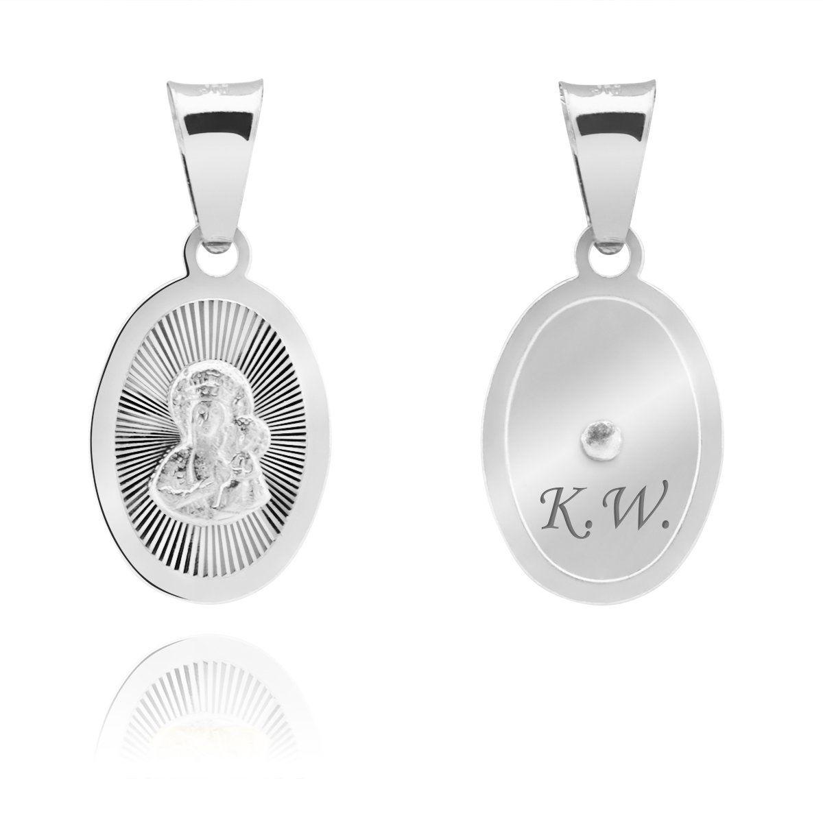 Srebrny medalik pr. 925 Matka Boska Częstochowska Grawer