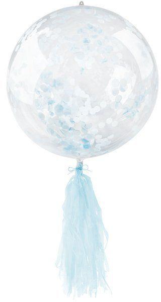 Balon kryształowy z niebieskim konfetti i frędzlami 45cm 1 sztuka BLF5740-nieb