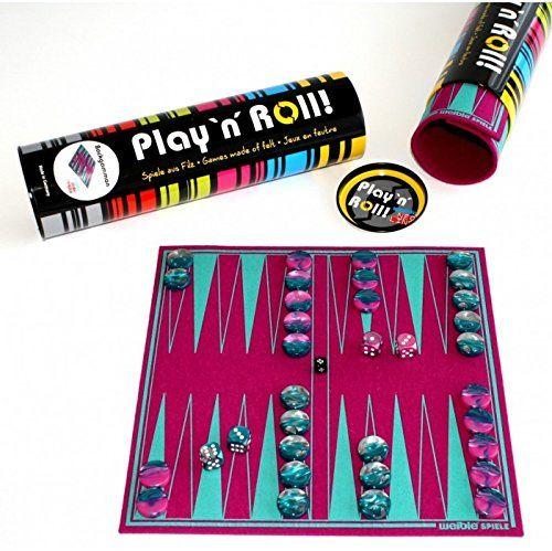 Gra dla kobiet 06227 Backgammon ''Play ''N'' ROLL'' z filcu wełnianego z kamieniami do gry ze szkła akrylowego