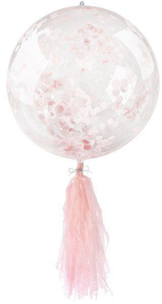 Balon kryształowy z różowym konfetti i frędzlami 45cm 1 sztuka BLF5757-róż