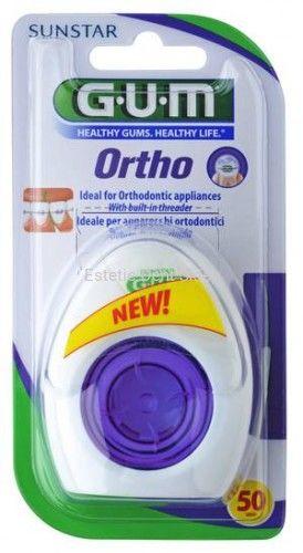 GUM Sunstar OrthoFloss - nić dentystyczna do aparatów ortodontycznych 50 odcinków