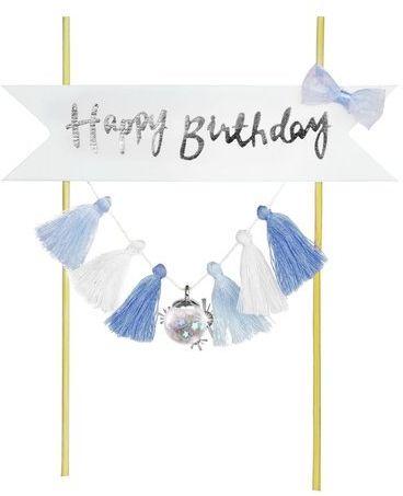 Topper na tort Happy Birthday niebieski 20cm K7683NIE