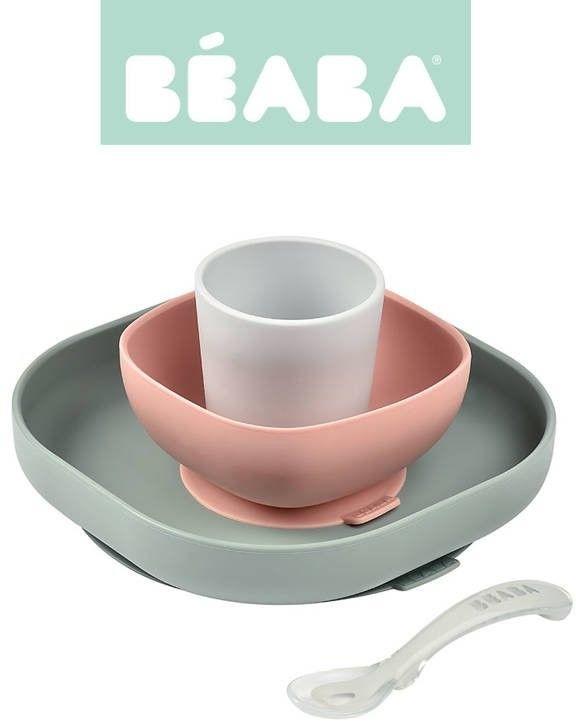 Beaba -Komplet Naczyń z Silikonu z Przyssawką Eucalyptus