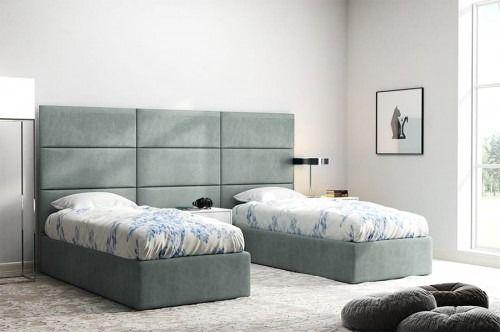 Szare panele ścienne italia 50x30 za łóżko tapicerowane