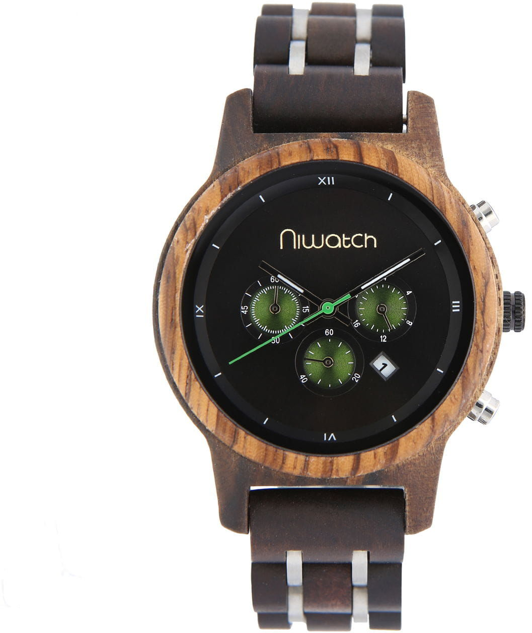 Damski zegarek drewniany Niwatch CHRONO - HEBAN na bransolecie