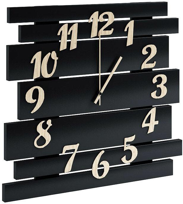 Czarny drewniany zegar ścienny - Samar