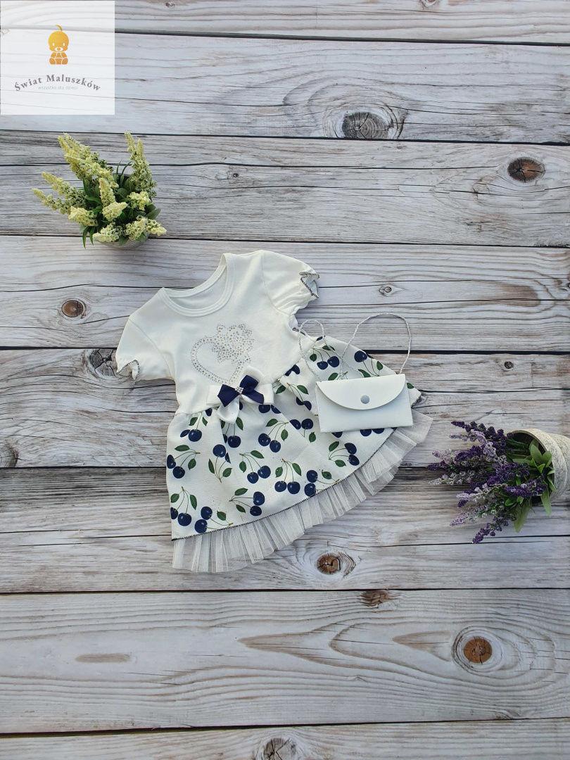 Sukienka dla dziewczynki z tiulem w wisienki