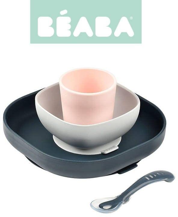 Beaba - Komplet Naczyń z Silikonu z Przyssawką Dark Blue