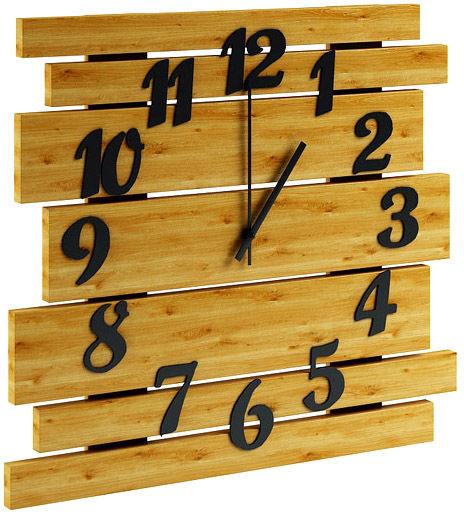 Drewniany zegar ścienny w kolorze dębu - Samar