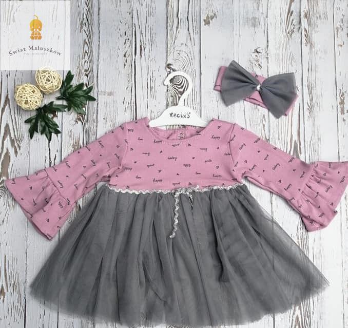 Sukienka dla dziewczynki szaro-różowa z tiulem