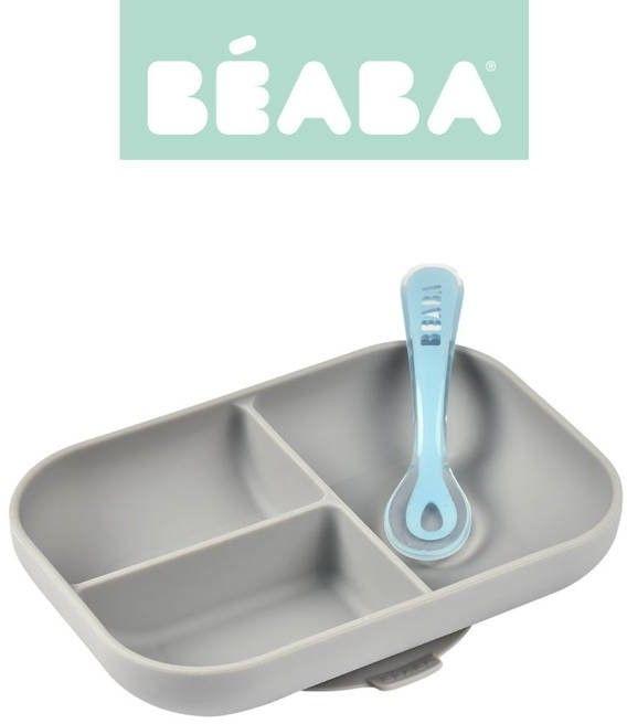 Beaba - Komplet Naczyń z Silikonu Trójdzielny Talerz z Przyssawką + Łyżeczka Grey