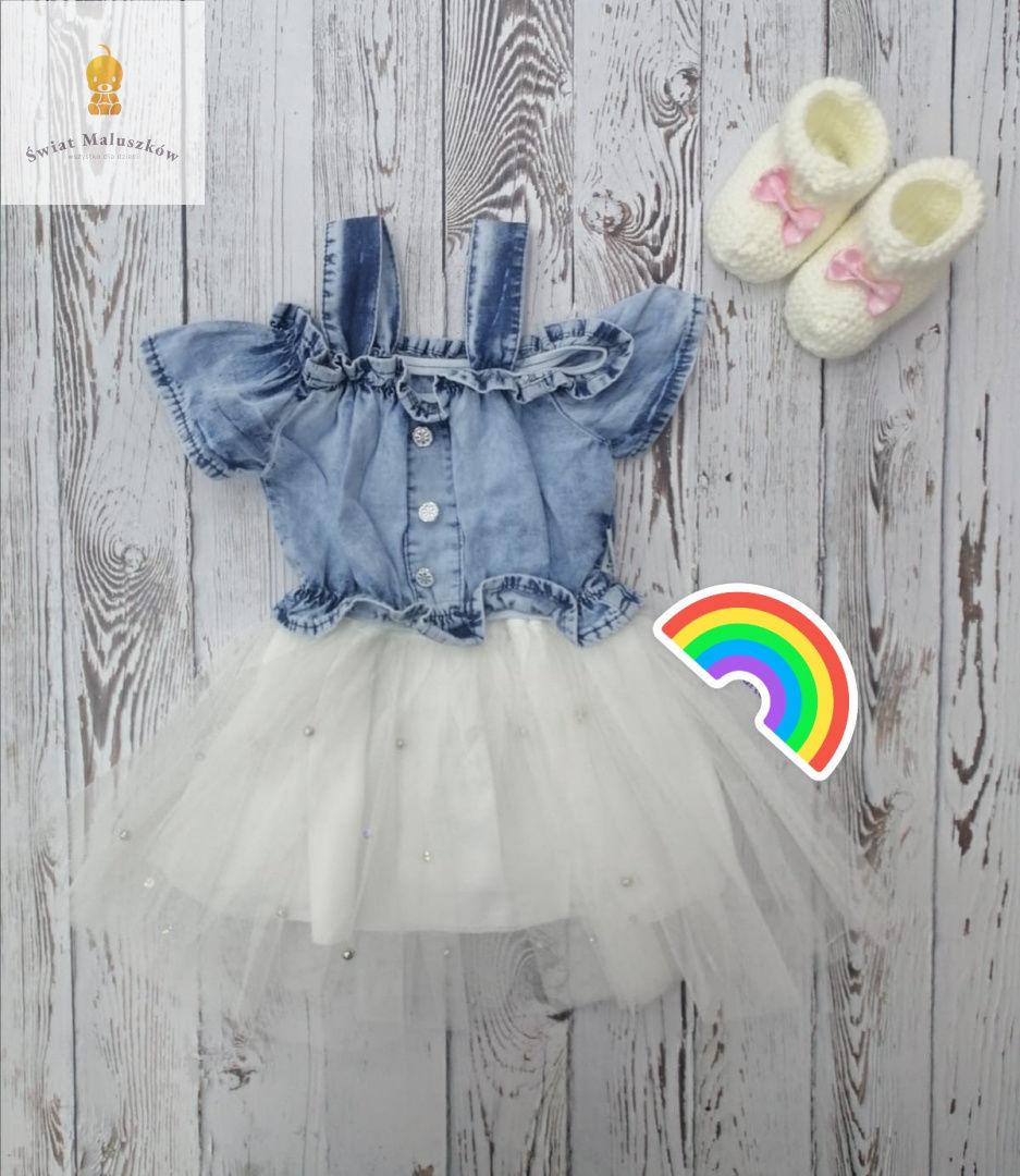 Sukienka dla dziewczynki z białym tiulem i koralikami