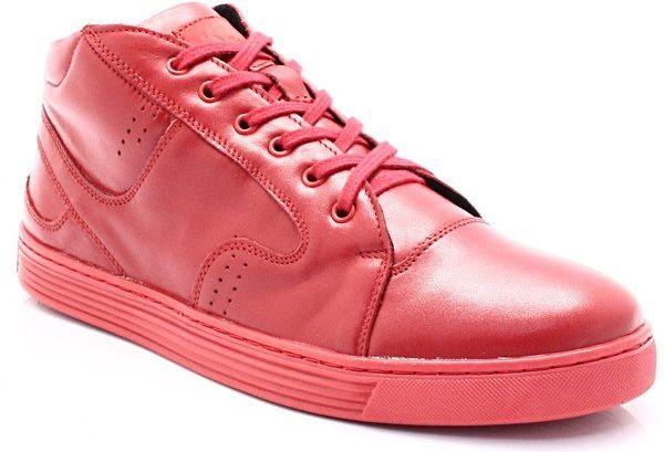 KENT 303 CZERWONE - Zimowe buty męskie, skóra - Czerwony