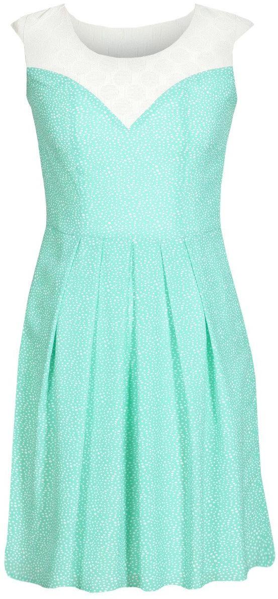 Sukienka FSU607 MIĘTOWY + EKRI
