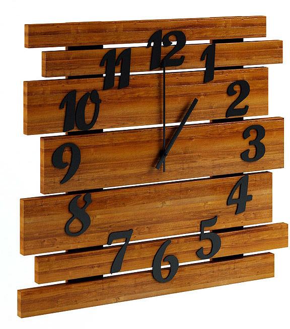 Drewniany zegar ścienny w kolorze orzecha - Samar