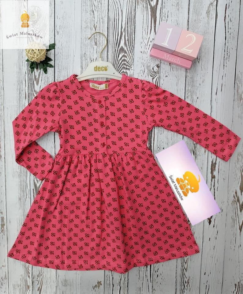 Sukienka dla dziewczynki w kwiatuszki różowa