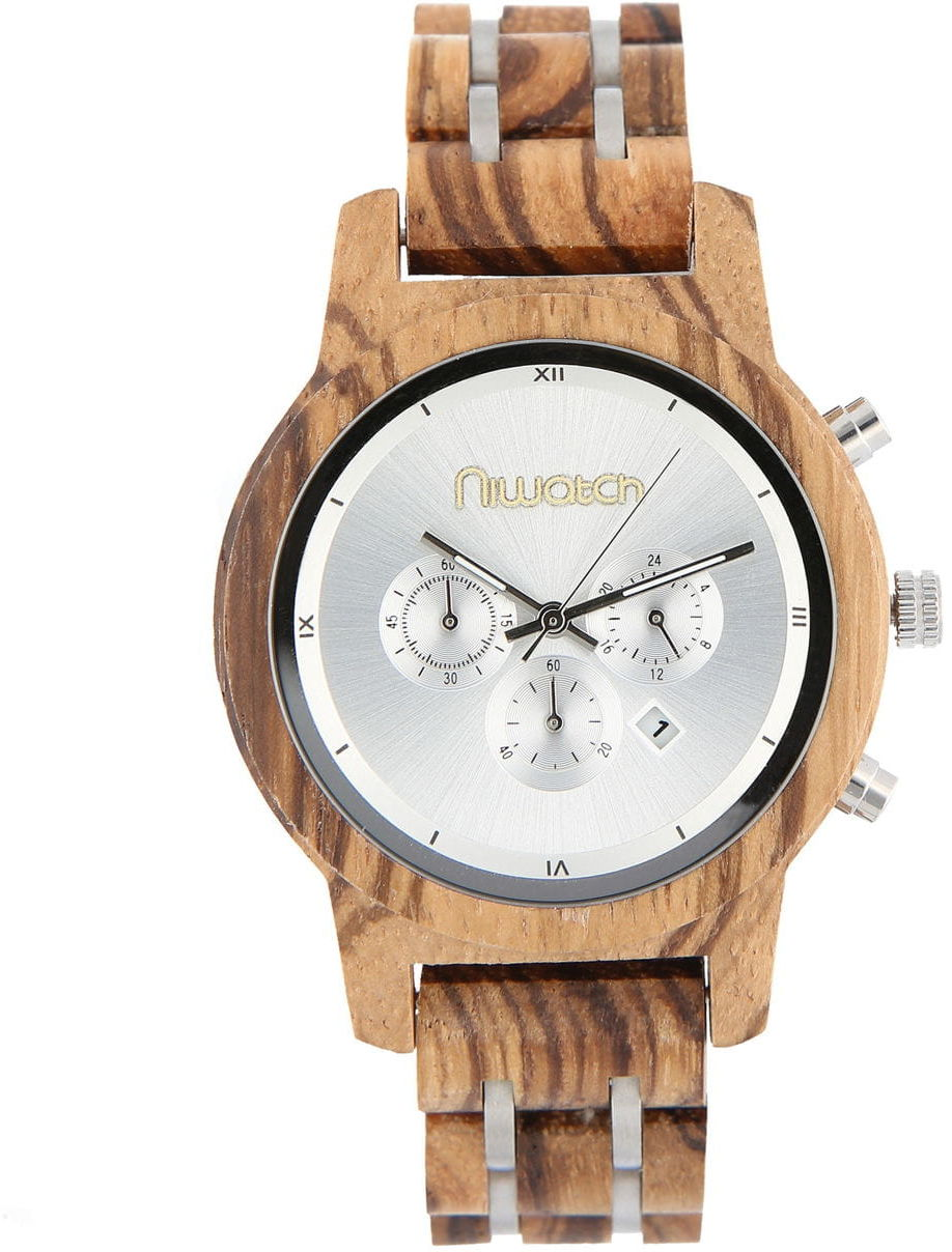 Damski zegarek drewniany Niwatch CHRONO - ZEBRAWOOD