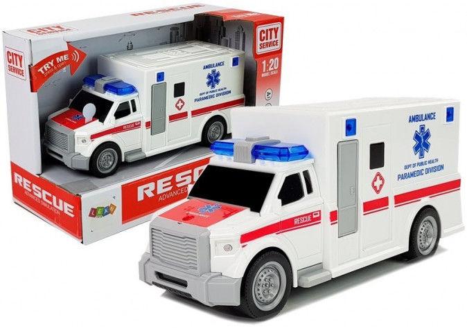 Ambulans z napędem frykcyjnym Biały Na Baterie 1:20 z Dźwiękiem