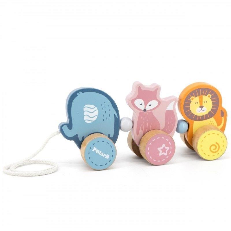 Viga Toys PolarB Drewniana zabawka zwierzątka do ciągnięcia