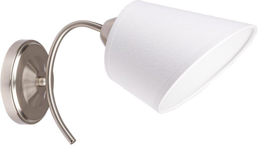 Spot Light 8341127 Mette kinkiet lampa ścienna metal satyna nikiel abażur tkanina biały 1xE27 40W 30cm