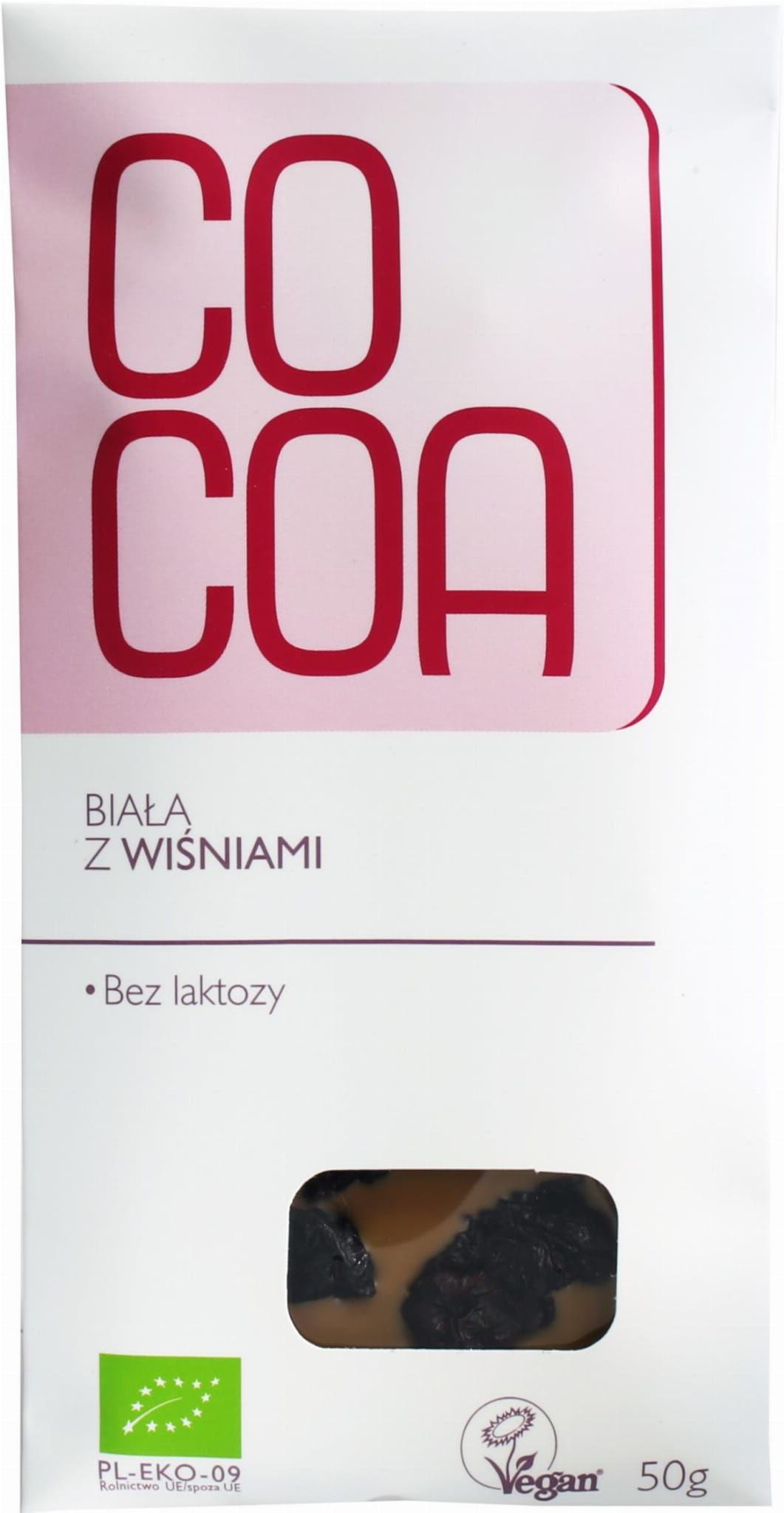 Tabliczka biała z wiśniami bio 50 g - cocoa