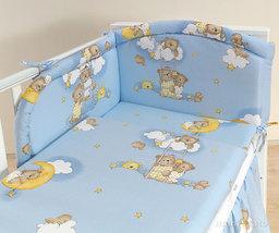 MAMO-TATO pościel 3-el Drabinki z misiami na błękitnym tle do łóżeczka 60x120cm