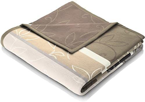 Biederlack Koc do mieszkania, 60% bawełna, lamówka z taśmą welurową, 150 x 200 cm, brązowy, Orion Cotton Vintage Leaves, 646347