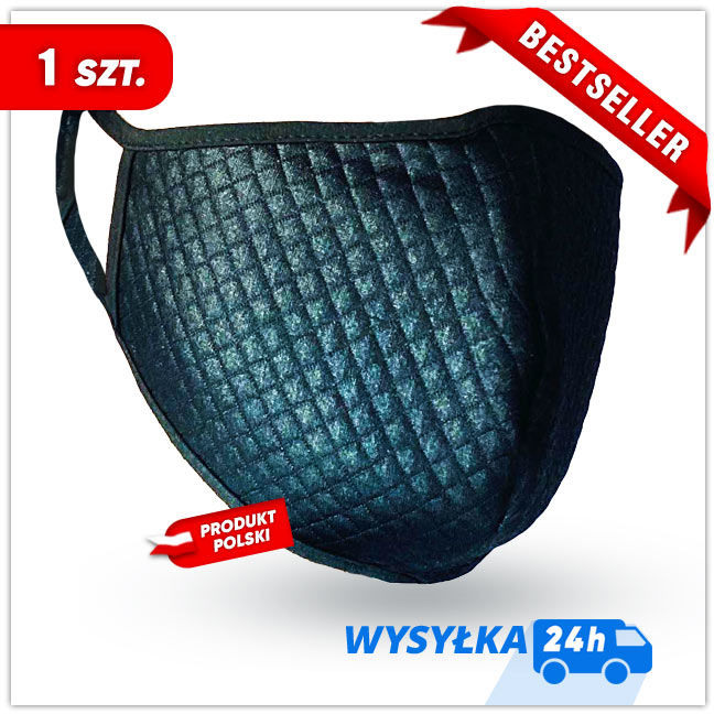 MASKK Maska Ochronna (+3 filtry) wielorazowa Pikowana