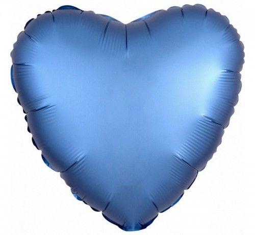 """Balon foliowy 17"""" serce niebieskie, satynowe"""