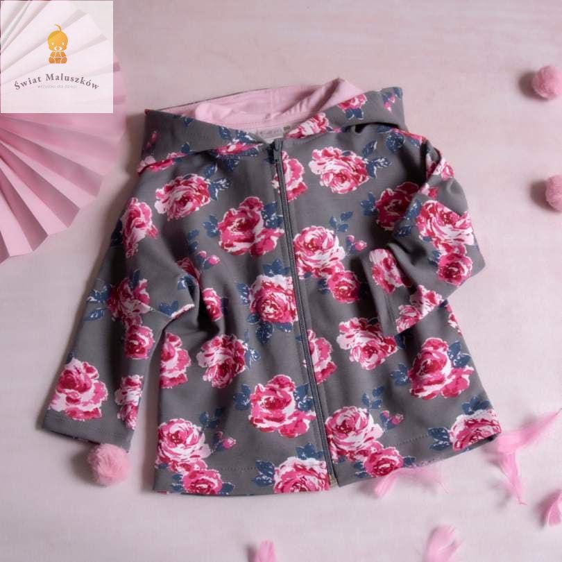 Bluza w róże na zameczek z kapturkiem szara