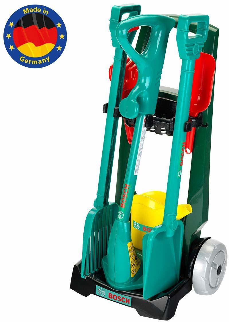 Theo Klein 2756 BoschGarden wózek ogrodowy, z akcesoriami, zabawki, zielony, srebrny, czerwony, żółty