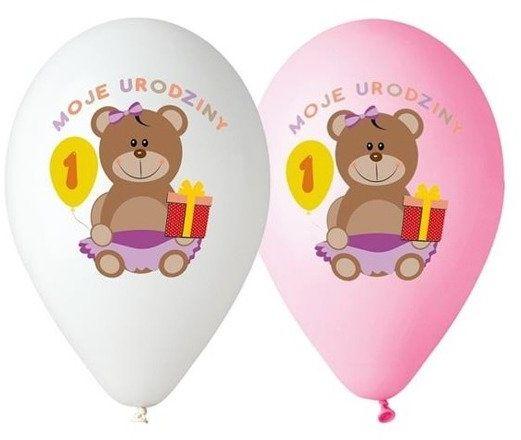 Balony 30cm Moje 1 urodziny z misiem 5 sztuk różowe i białe GD-M1UDK