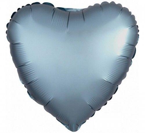 """Balon foliowy 17"""" serce stalowe, satynowe"""