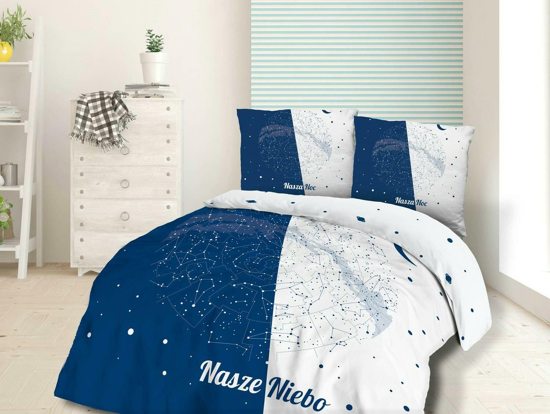 Pościel bawełniana 220x200 61483/1 Nasze niebo nasza noc gwiazdy kosmos gwiazdozbiór biała granatowa Panelove