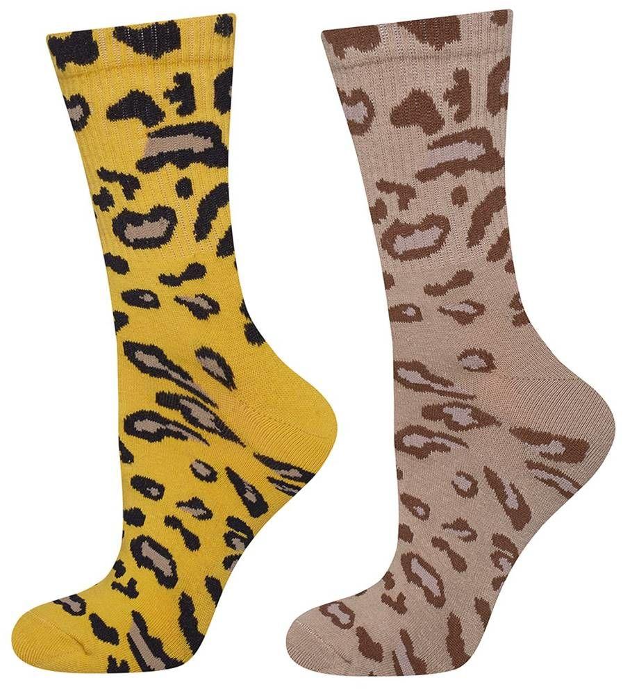 Skarpetki damskie SOXO z żółtą i beżową panterką - 2 pak