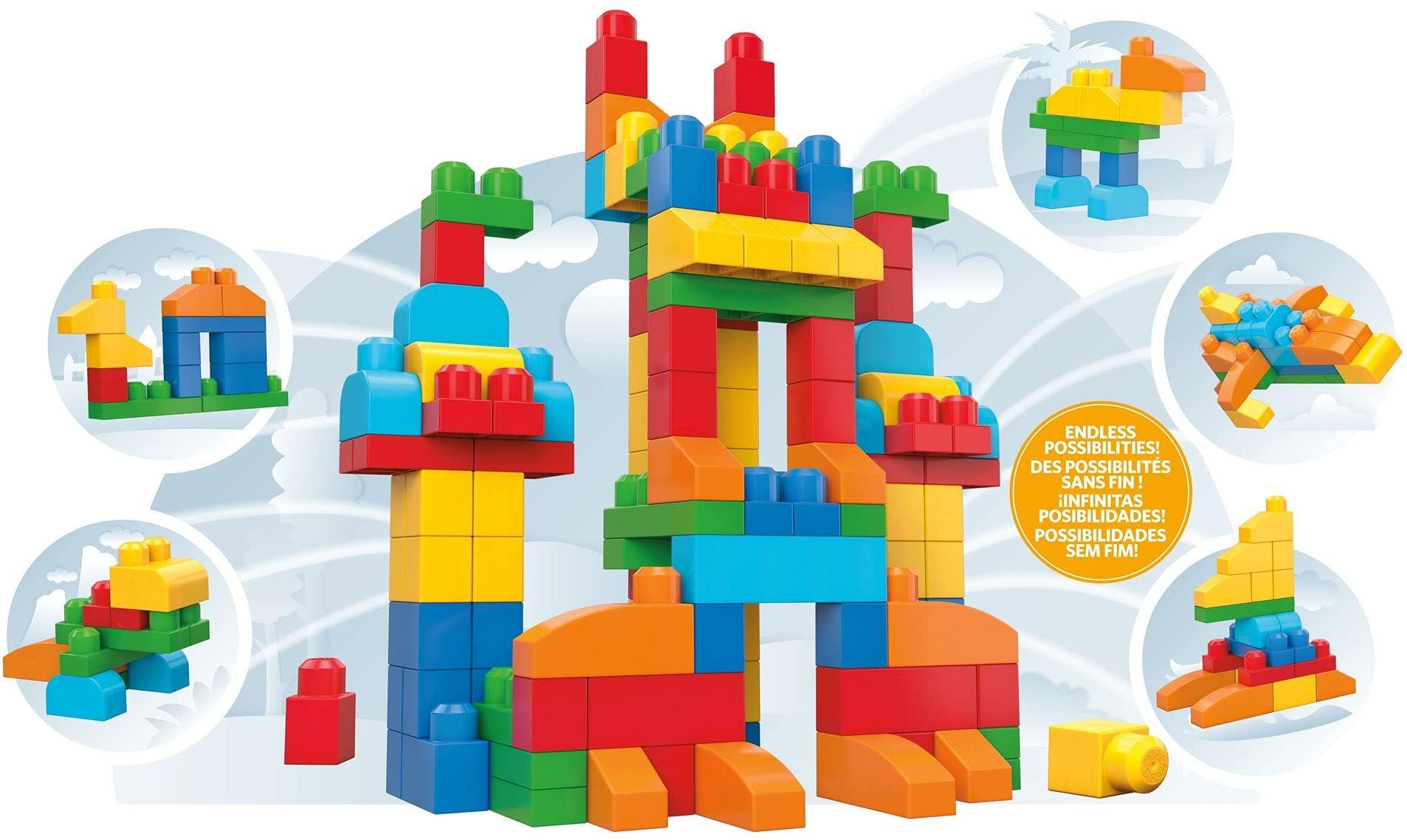 Mattel Mega Bloks First Builders CNM43 - worek na klocki, Deluxe 150 części, kolorowy