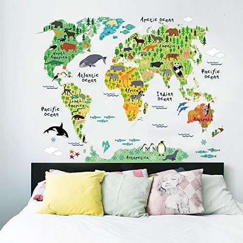 Naklejka dla dzieci, samoprzylepna, mapa świata, dekoracja ścienna, pokój dziecięcy, 90 x 60 cm