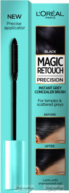 L Oréal - MAGIC RETOUCH PRECISION - INSTANT GREY CONCEALER BRUSH - Maskara tuszująca siwe włosy na skroniach i pojedyncze siwe włosy - 8 ml - BLACK