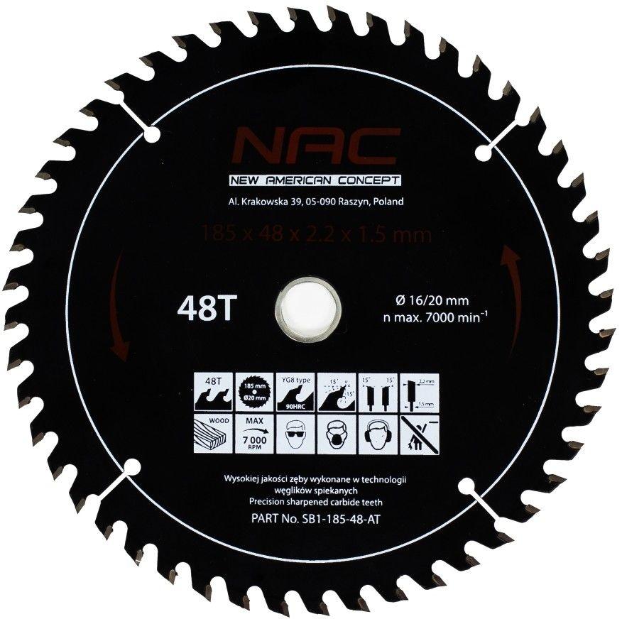 Tarcza widiowa do drewna NAC SB1-185-48-AT