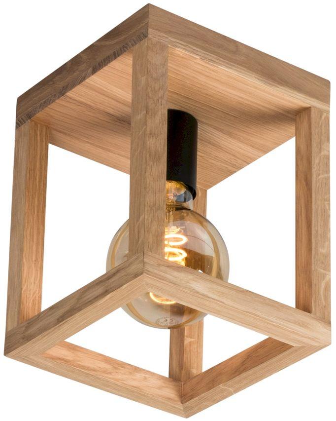Spot Light 9154174 Kago plafon lampa sufitowa prostokątna rama drewninana dąb olejowany/metal czarny 1xE27 60W 20cm