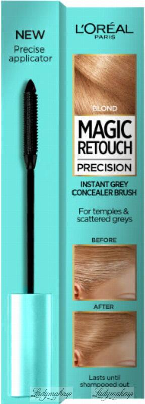 L Oréal - MAGIC RETOUCH PRECISION - INSTANT GREY CONCEALER BRUSH - Maskara tuszująca siwe włosy na skroniach i pojedyncze siwe włosy - 8 ml - BLONDE