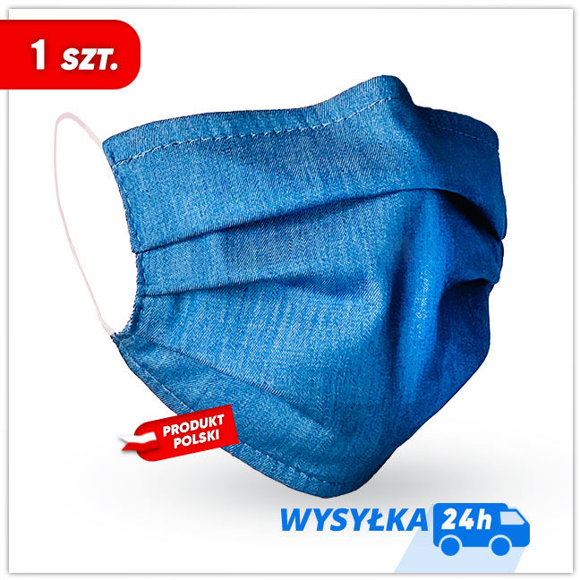 MASKK Maseczka Bawełniana Jeans Wielorazowa