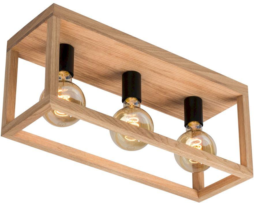 Spot Light 9154374 Kago plafon lampa sufitowa prostokątna rama drewniana dąb olejowany/metal czarny 3xE27 60W 52cm