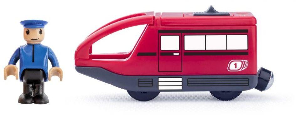 Lokomotywa z maszynistą na baterie czerwona