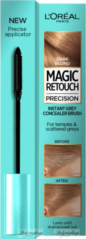 L Oréal - MAGIC RETOUCH PRECISION - INSTANT GREY CONCEALER BRUSH - Maskara tuszująca siwe włosy na skroniach i pojedyncze siwe włosy - 8 ml - DARK BLONDE