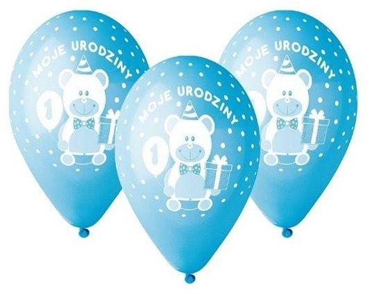 Balony na Roczek Moje 1 urodziny z misiem niebieskie 30cm 5 sztuk GD-M1UC1