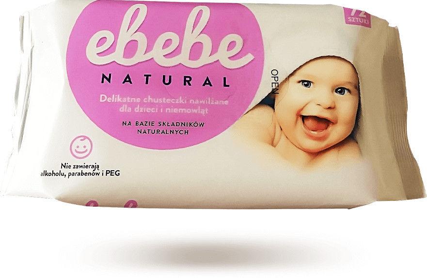 Ebebe Natural Chusteczki nawilżane dla dzieci i niemowląt - 72 sztuki